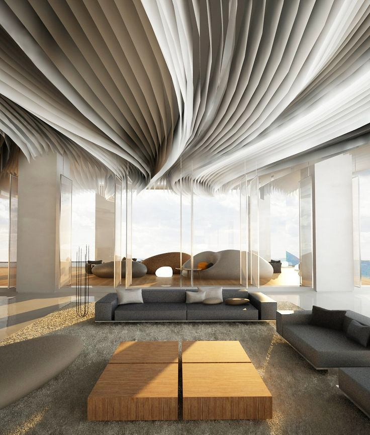 interesting ceiling design in a living room