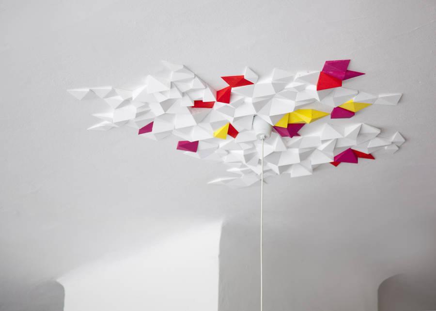 ceiling design geometric coloured tiles