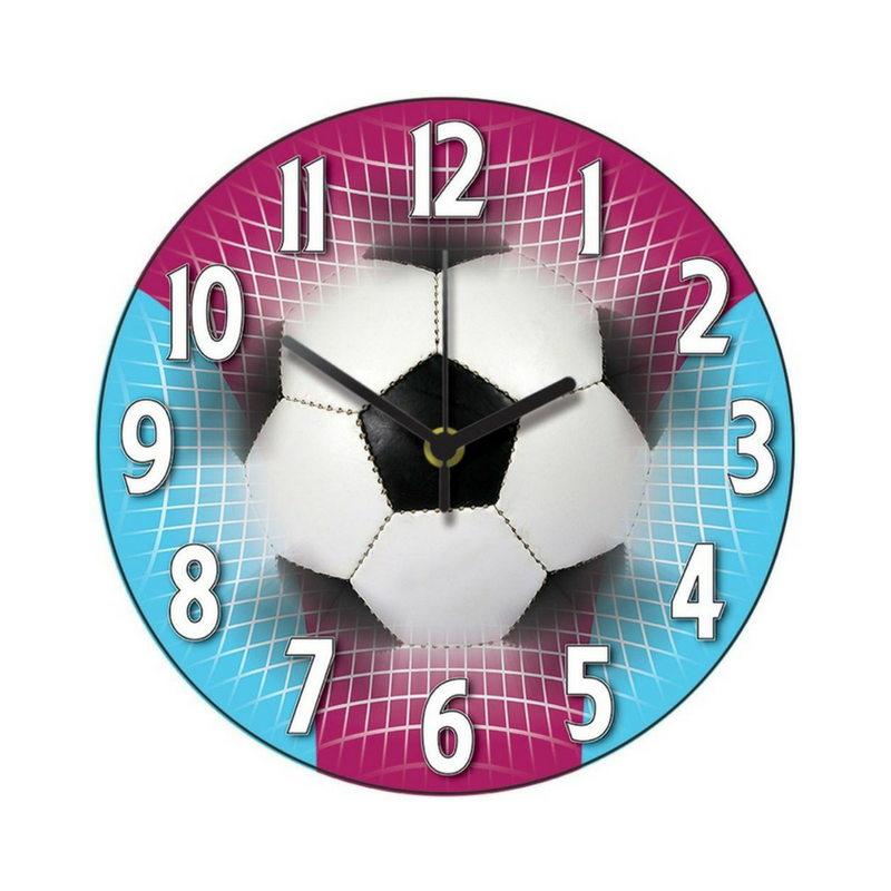pink and blue football themed bedroom clock