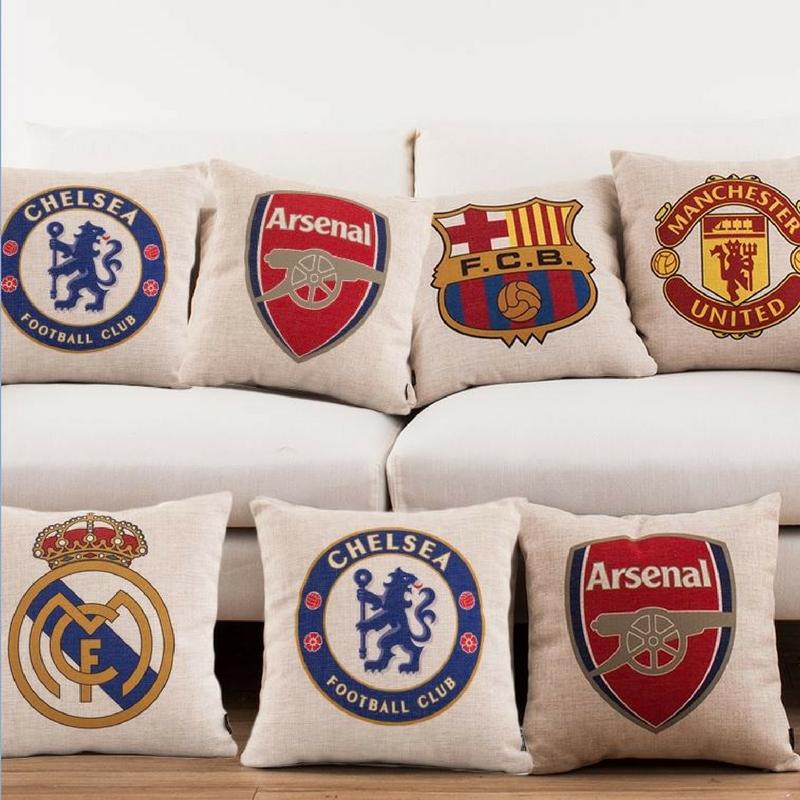 football team pillows for a football themed bedroom