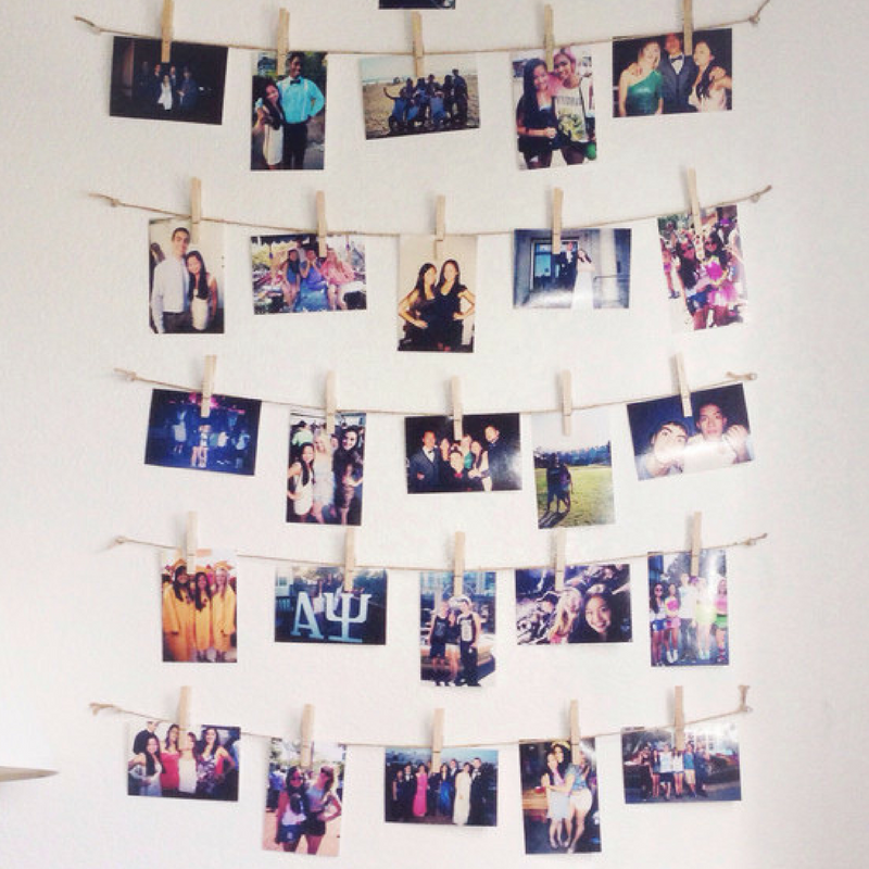 hanging photos for a student room