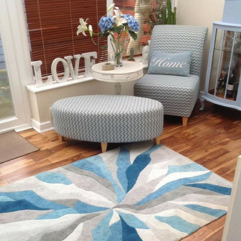 blue splinter rug in a modern home from the rug seller