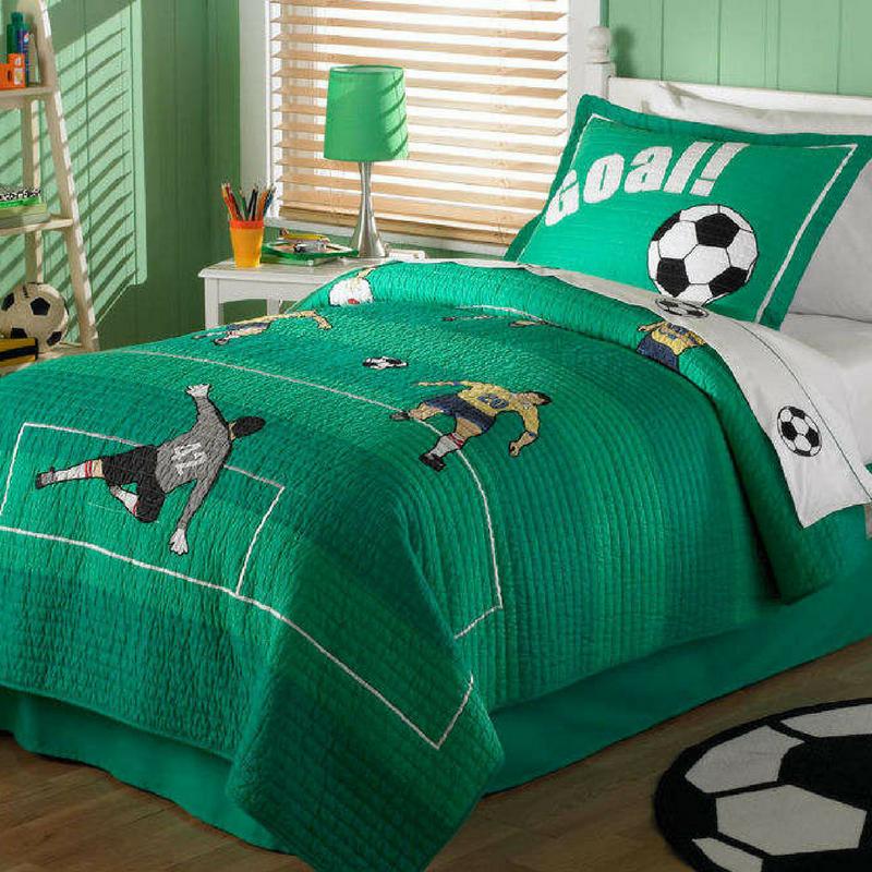 traditional green football themed bedroom