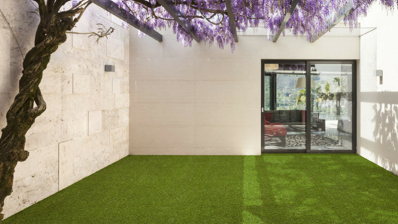 artificial grass inside a football themed bedroom