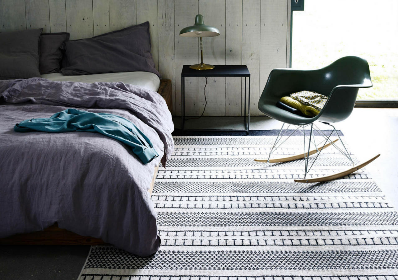 monochrome bedroom rug