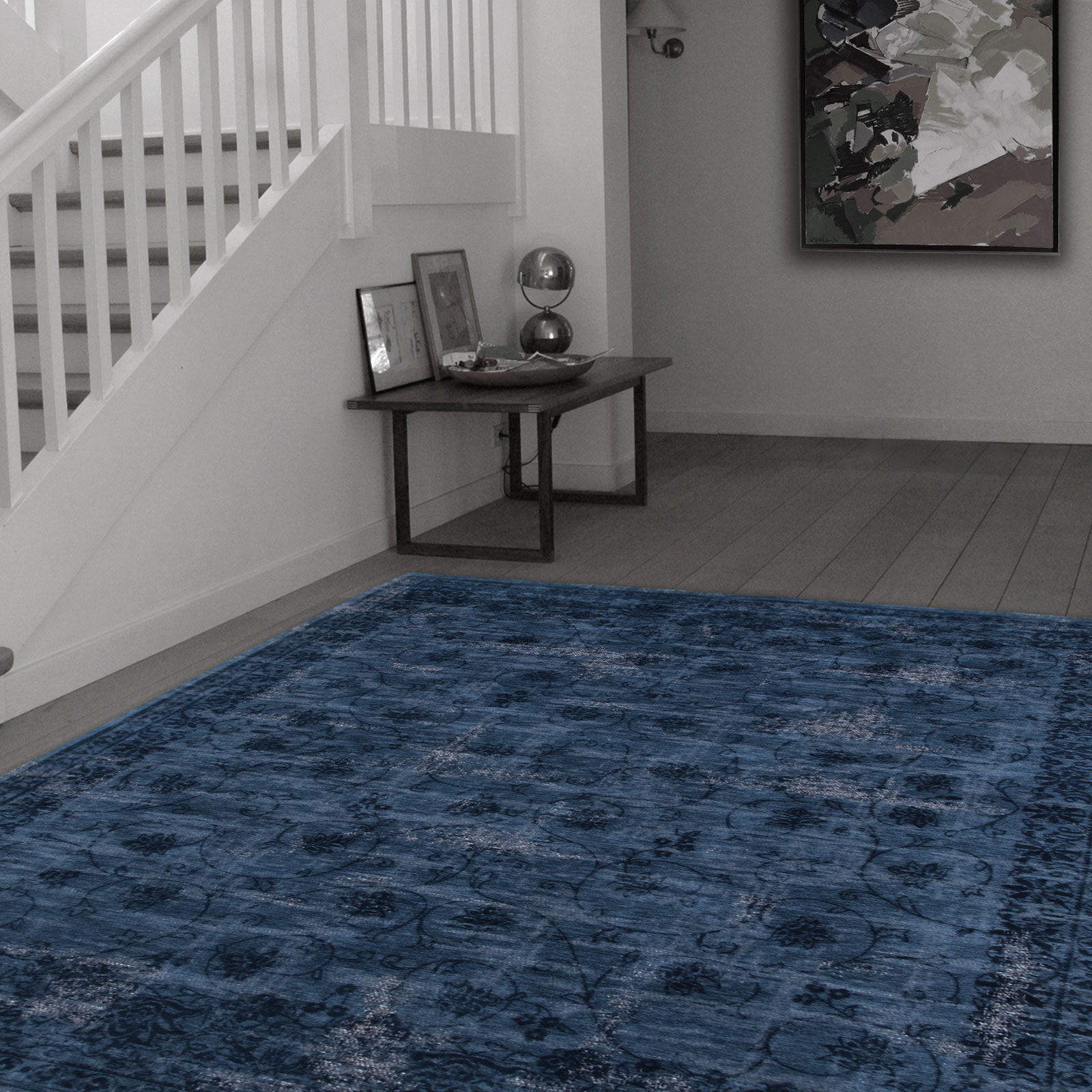 louis de poortere denim blue vintage rug