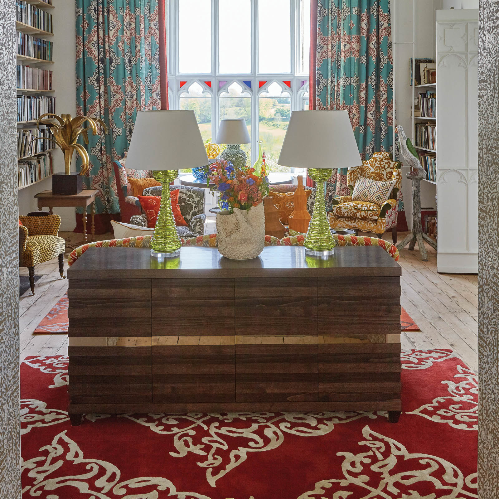 Carlotta rugs in Brick by William Yeoward