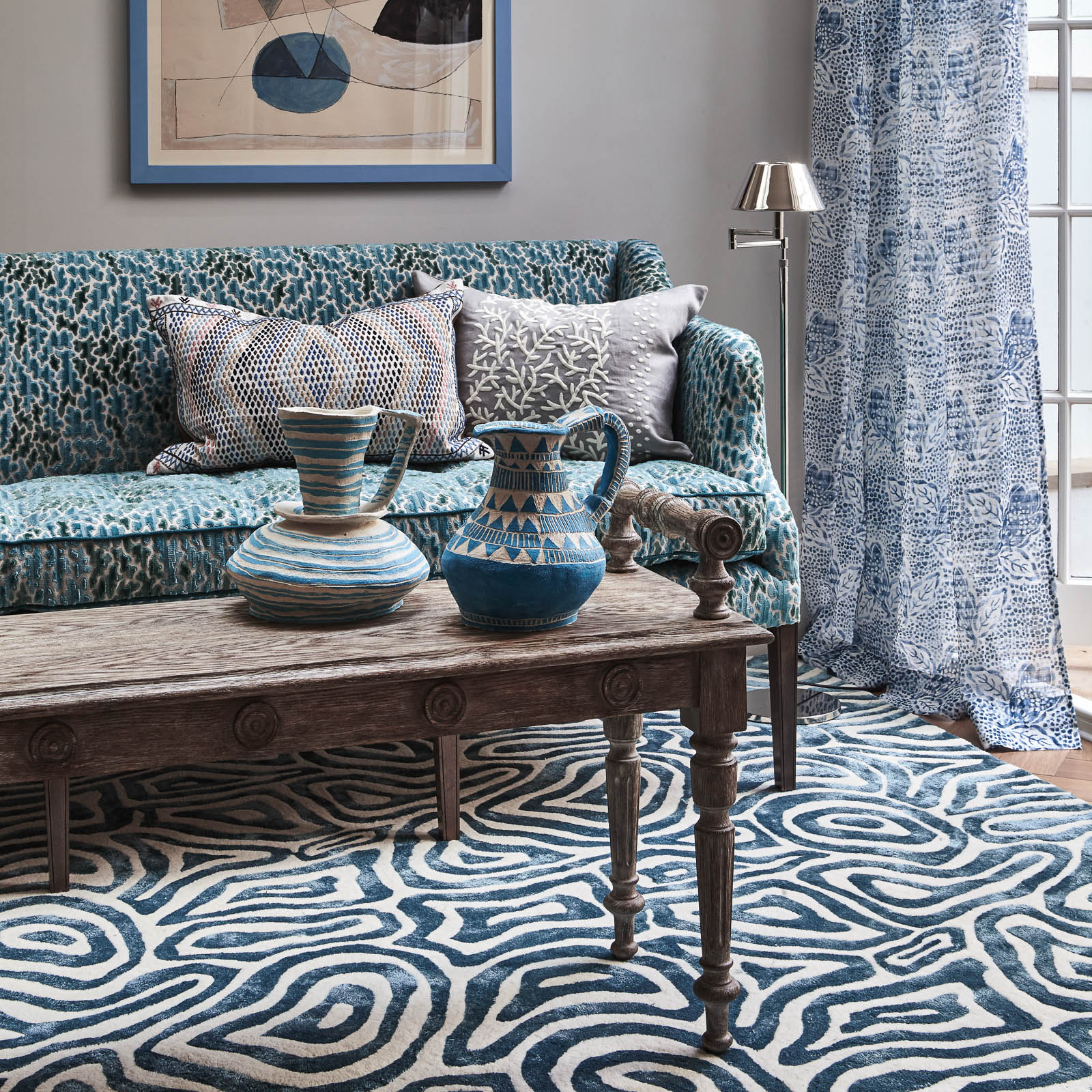 Rhoscolyn rugs in Cobalt by William Yeoward