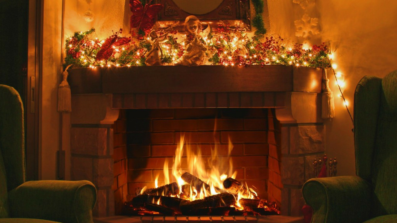 christmas fireplace in a home