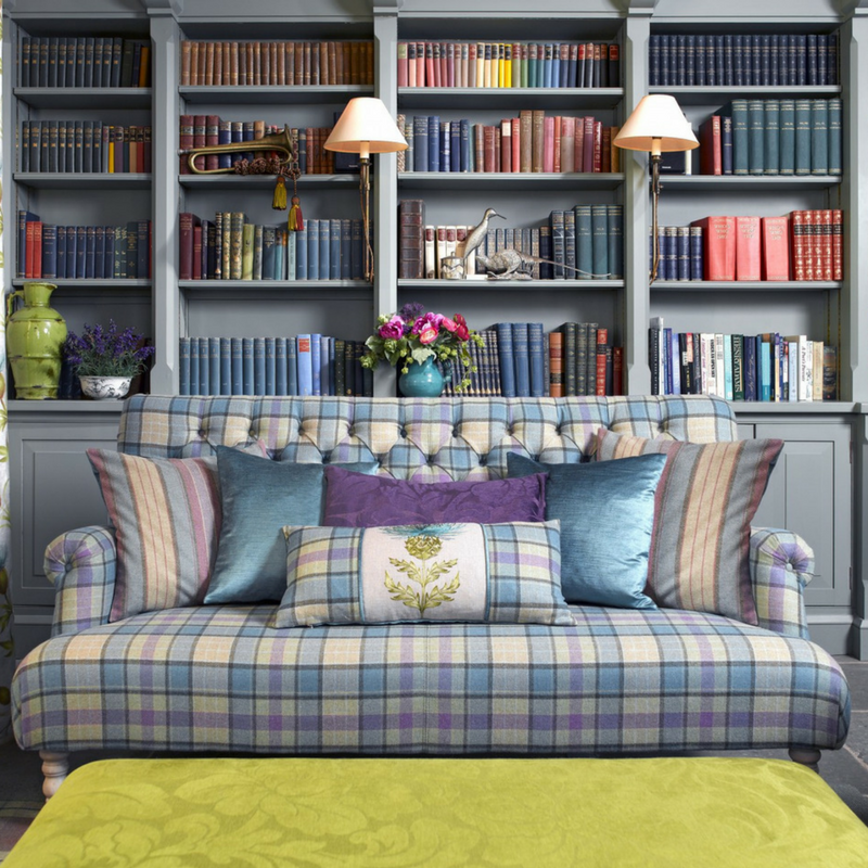 plaid tartan couch in a living room