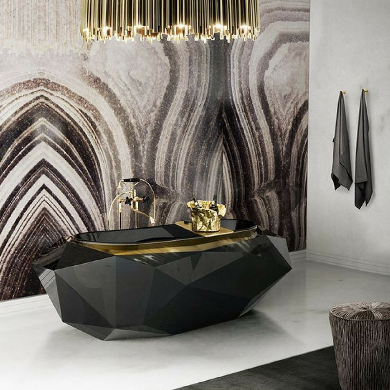 dark colours a luxurious dark coloured bathroom with a funky bathtub