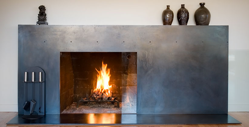 steel surrounding fireplace