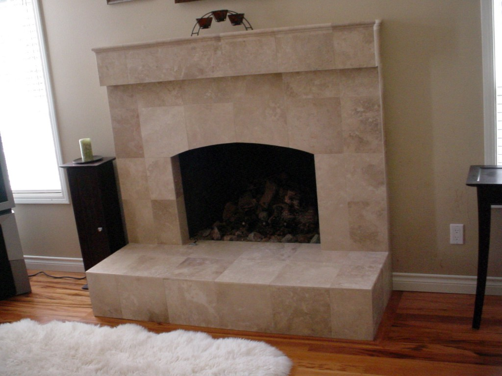 slab surrounding fireplace