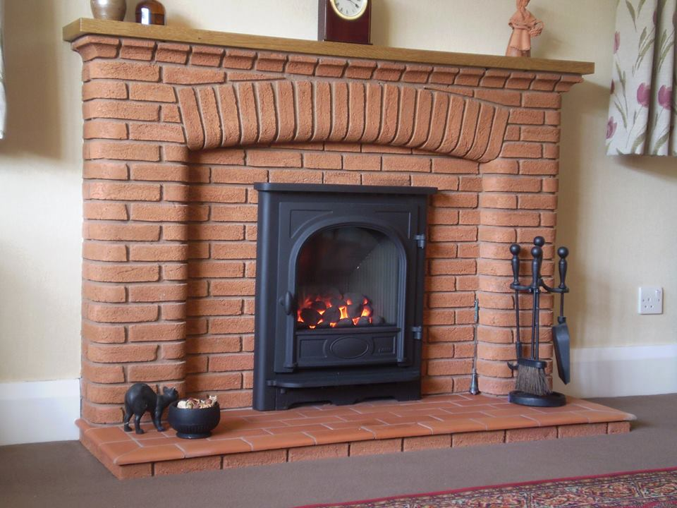 brick surrounding fireplace