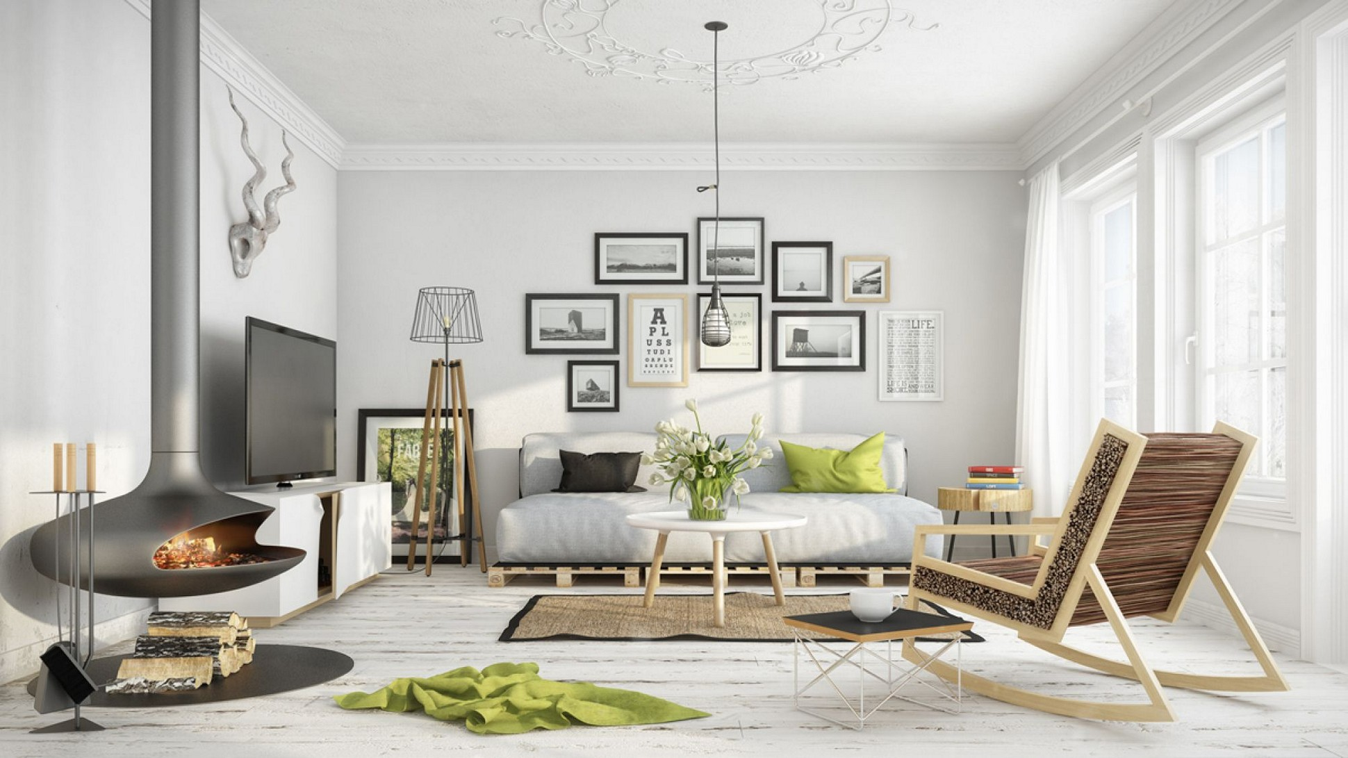 a rustic, scandinavian interior wiith a couch, paintings and other furniture