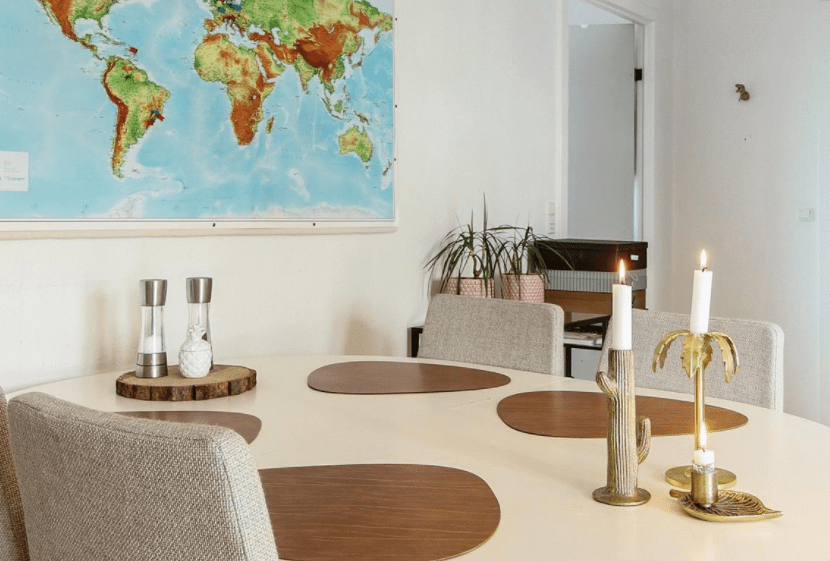 Scandinavian dining room interior with candles