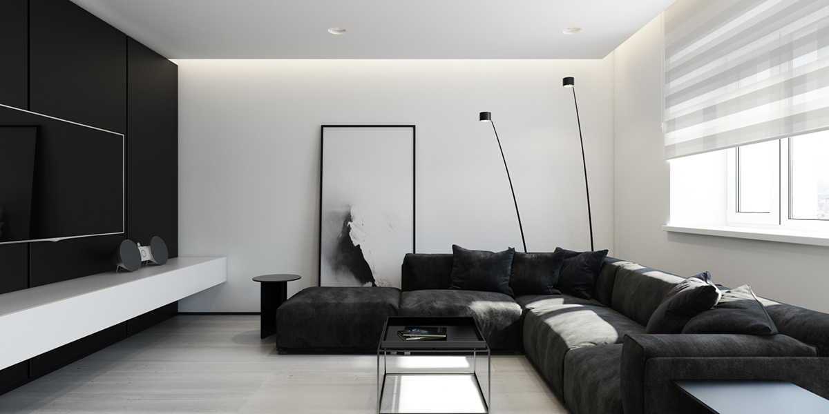 monochrome interior with a black couch black wall and tv