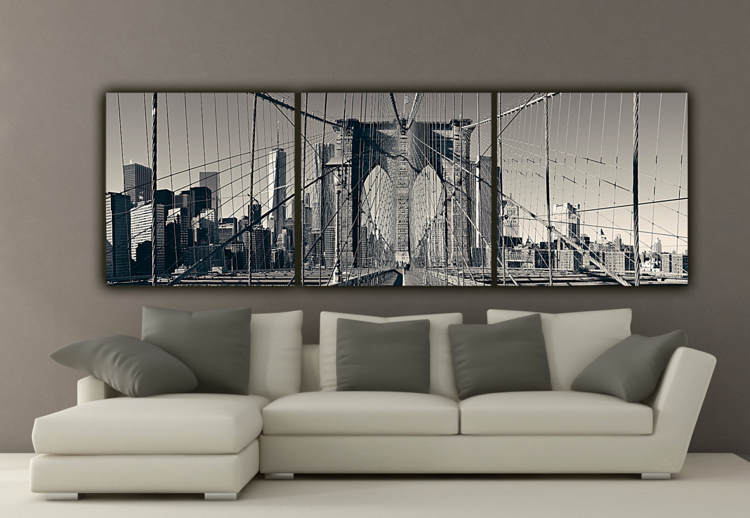 modern interior with a moody trio of photographs on canvases