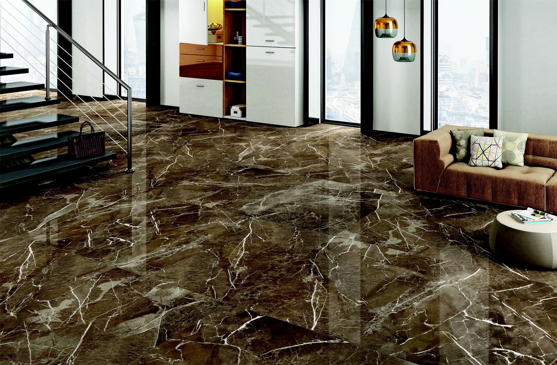 brown marble flooring in a marble design trend interior