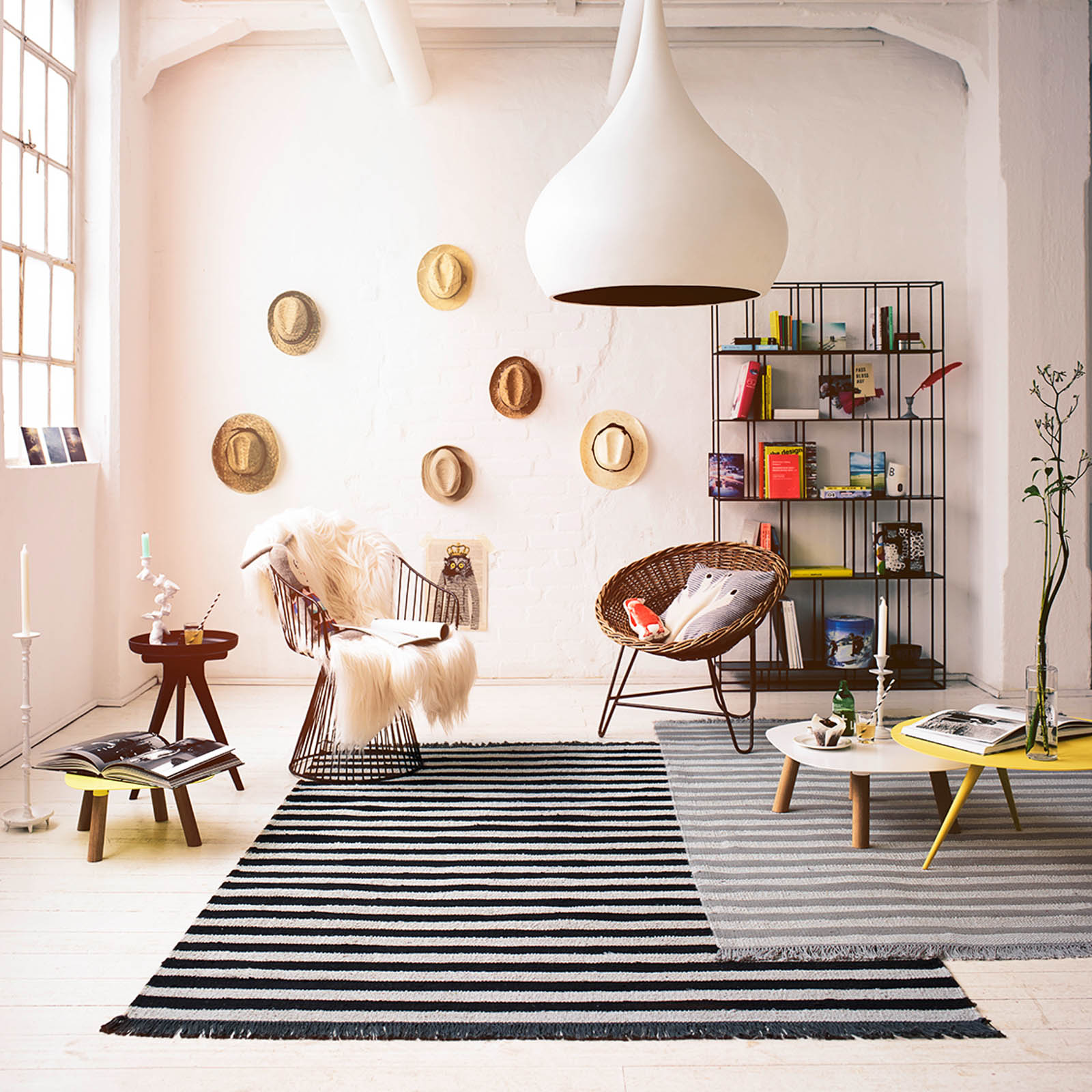 Noble Stripes Rug 0010 01 by Carpets & Co in Black and White