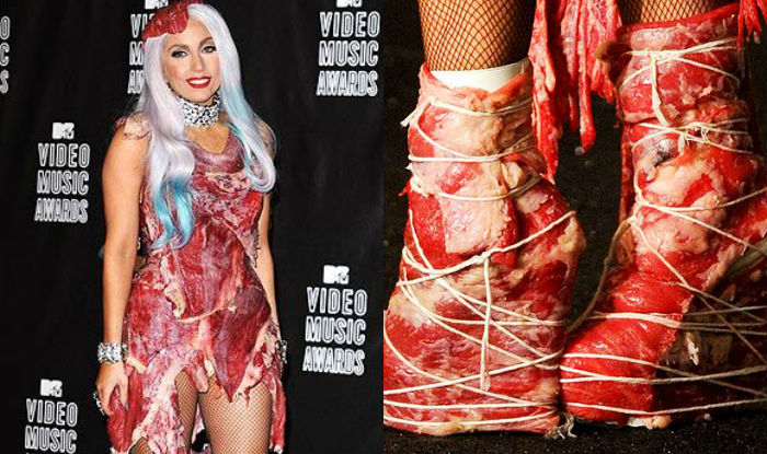 lady gagas meat dress