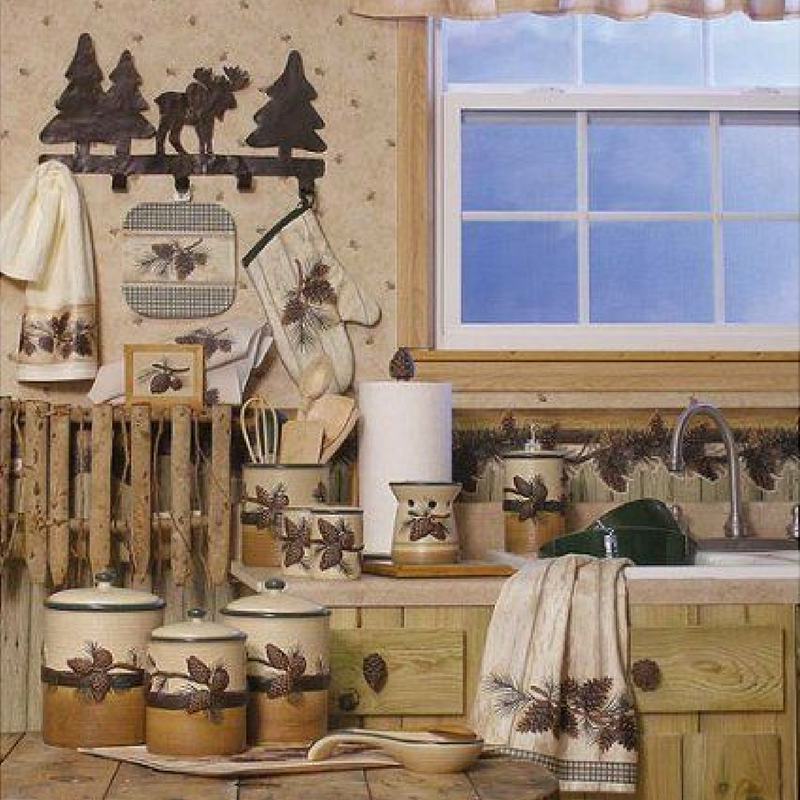 woodland theme home decor accessories in a kitchen