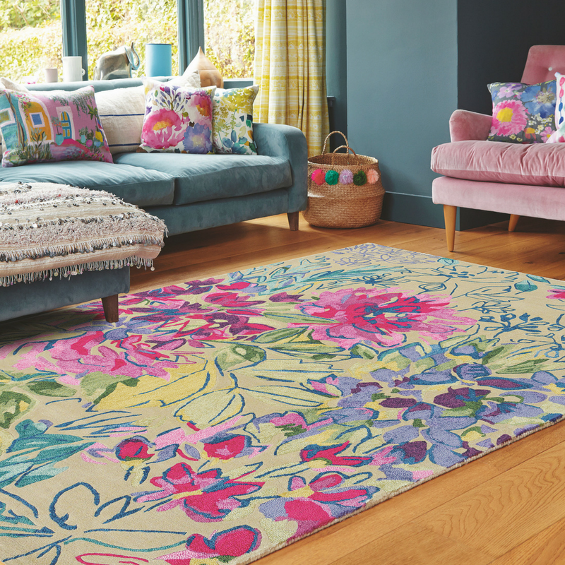 ines jardin rug by bluebellgray floral theme