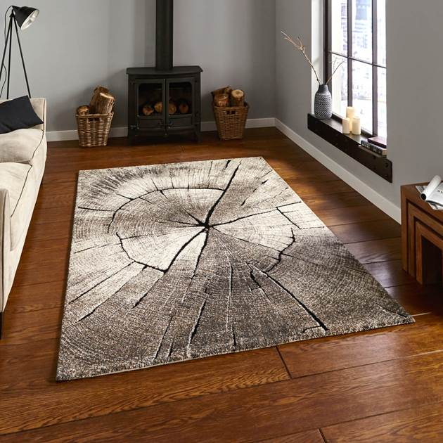 woodland theme rug in a living room