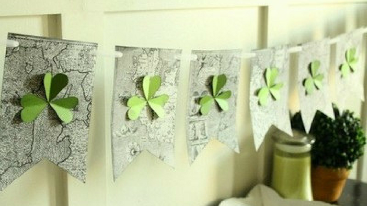 st. patrick's day shamrock garland home decor