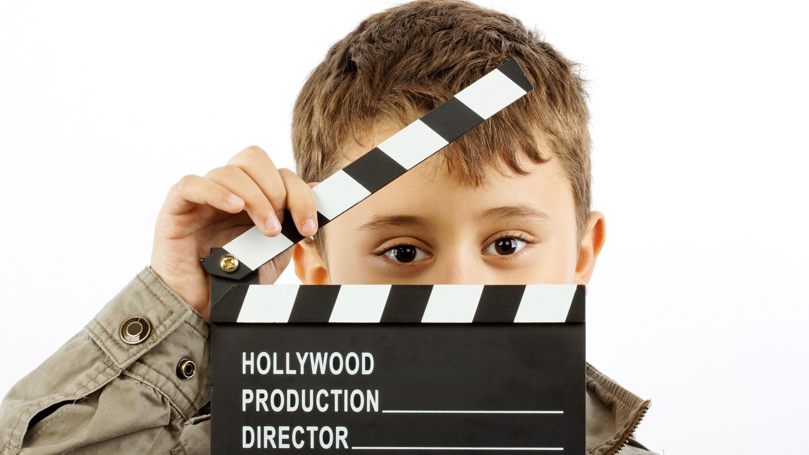 kid using a hollywood style clip board