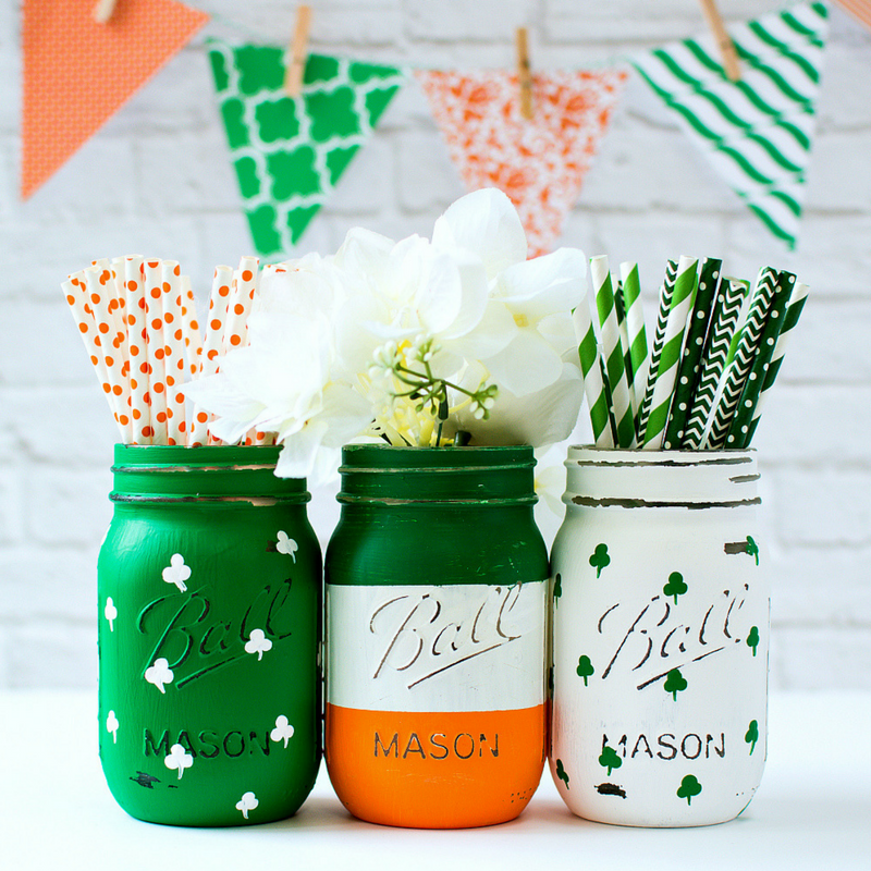 st. patrick's day shamrock and irish flag mason jars