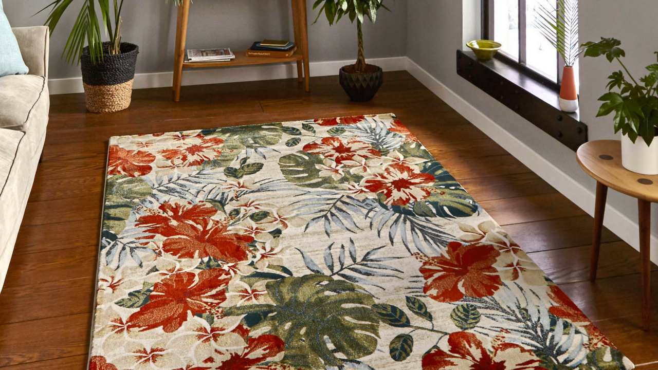 Mother's day gift, Tropics Rugs 6096 in Cream and Multi-colours