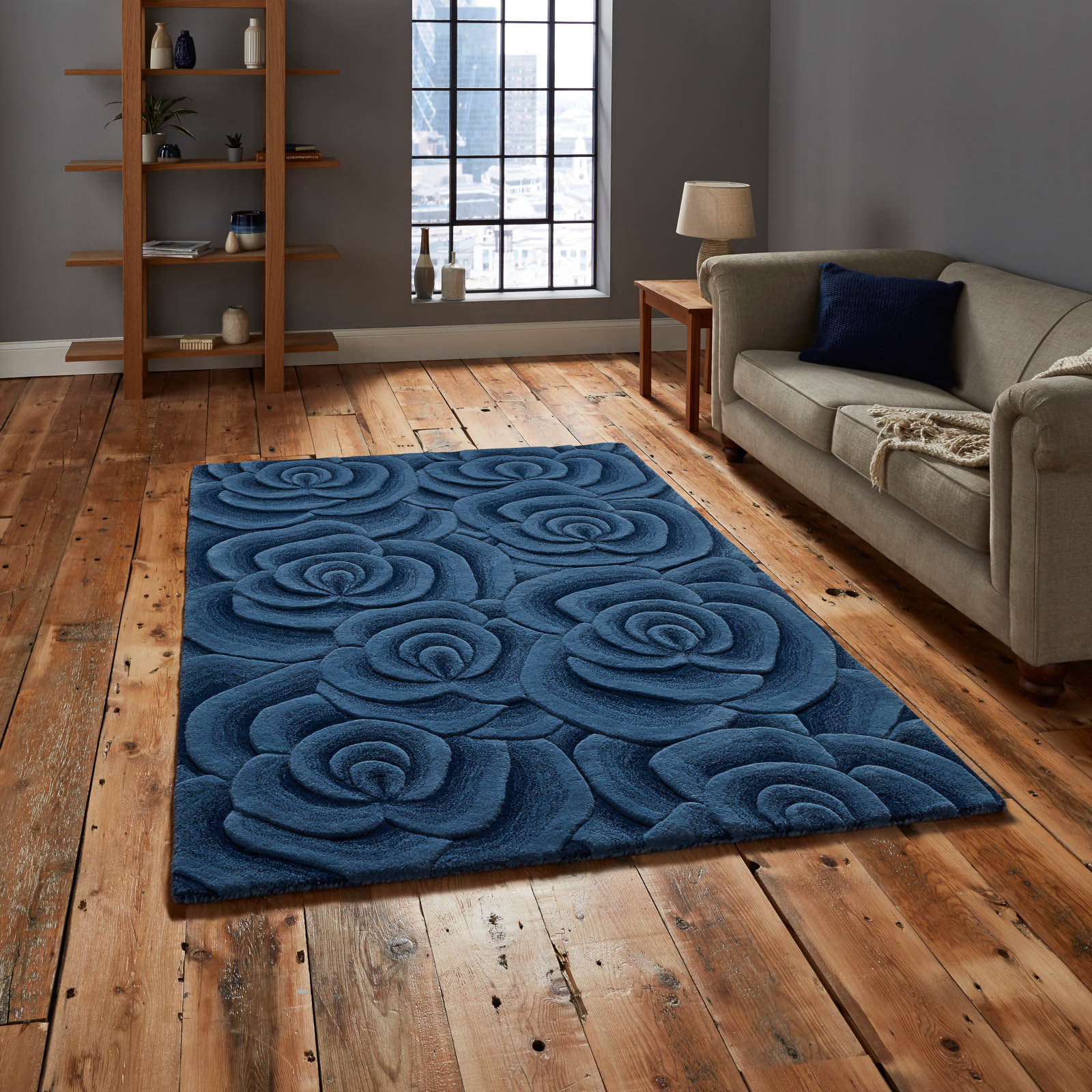 Mother's Day gift, Valentine Rugs VL10 Hand Made Indian Wool in Blue