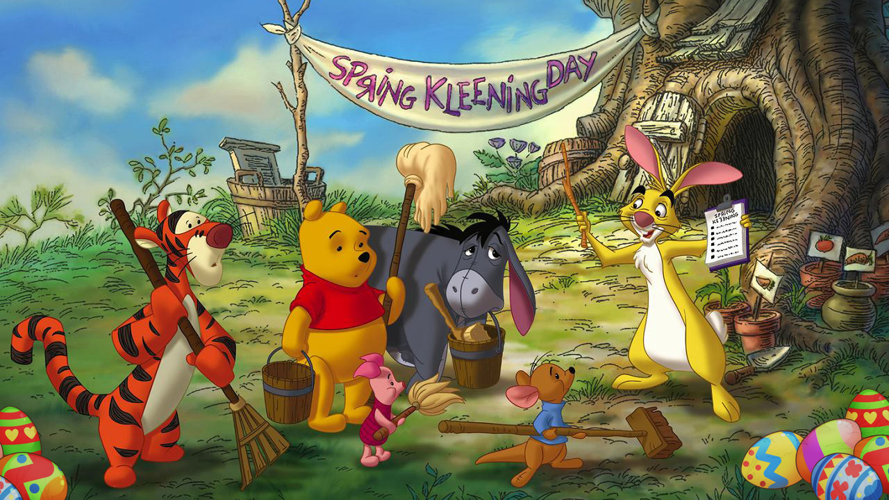 winnie the pooh spring cleaning with easter eggs included