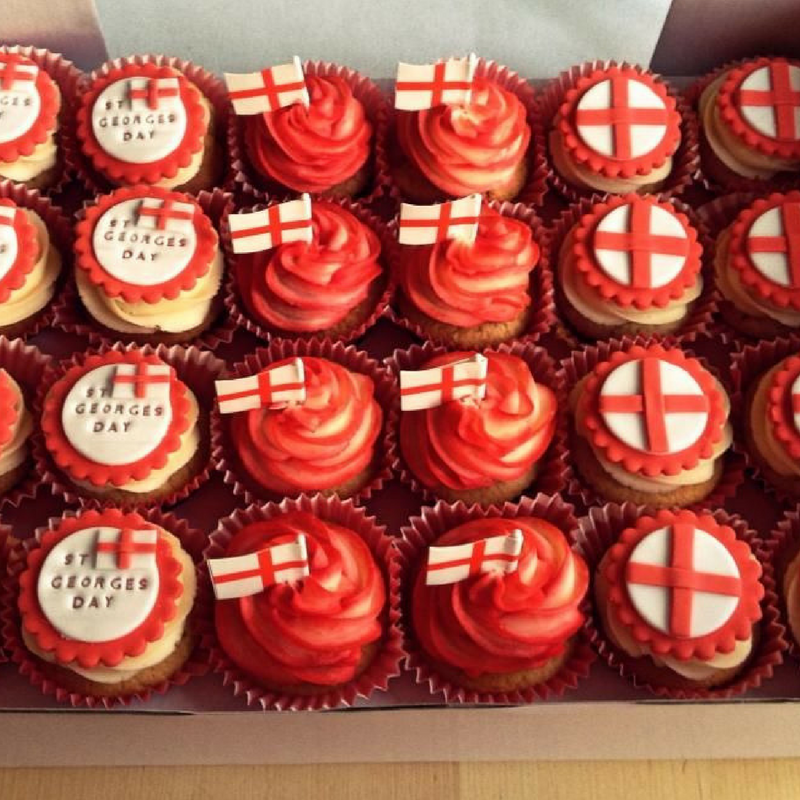 St. George's Day sponge cupcakes with red and white icing