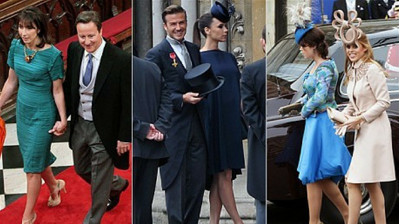Royal Wedding celebrities and royals arriving at the wedding of William and Kate Middleton