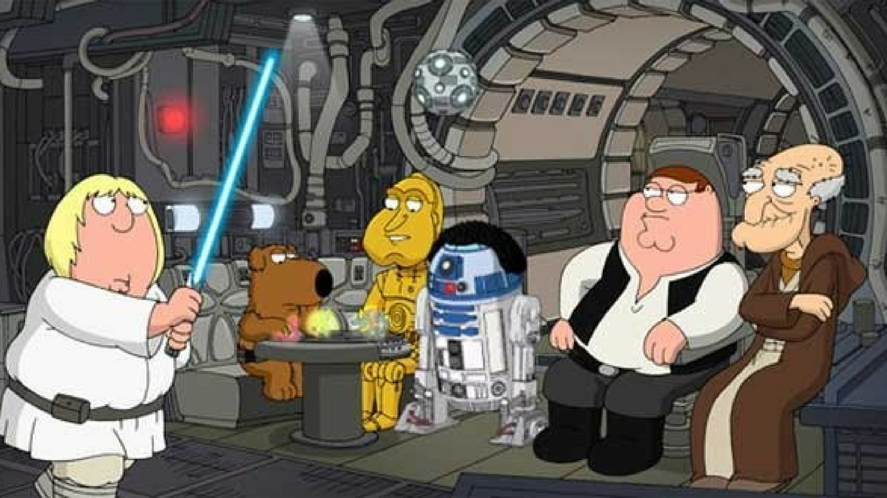 Star Wars May the 4th be with you in a space craft with Family Guy characters Chris, Brian, Quagmire, Cleveland, and Peter.