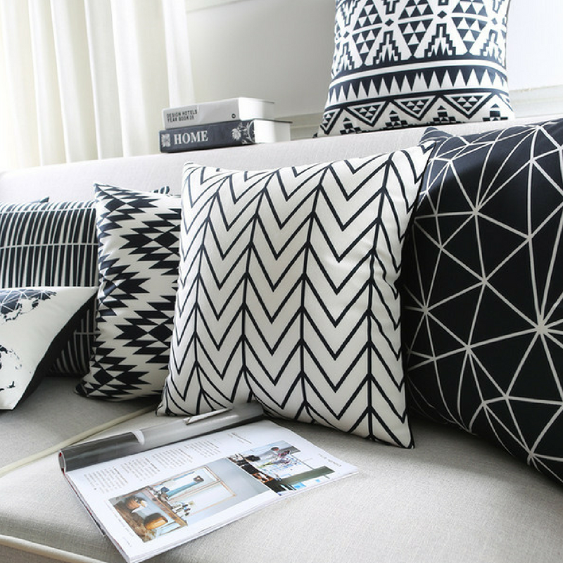 Geometric Patterns Monochrome Throw Pillows