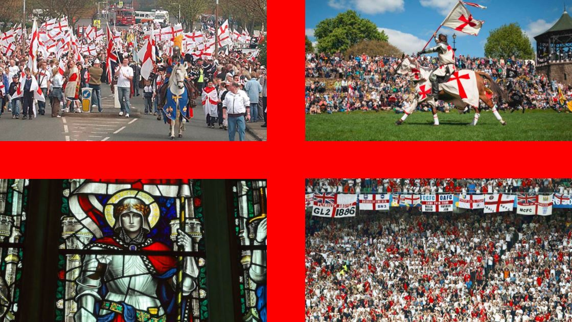 St. George's Day England flag with pictures of St. George's Day celebrations