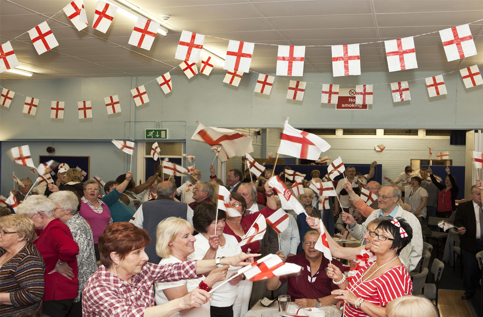 St. George's Day party with bunting England flags and celebrations