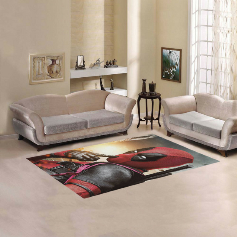 Deadpool Thinking Rug in a Modern Living Room