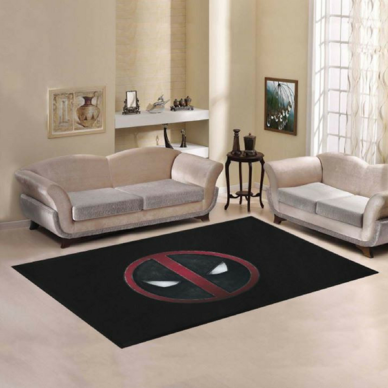 Deadpool No Entry Sign Rug in a Modern Living Room