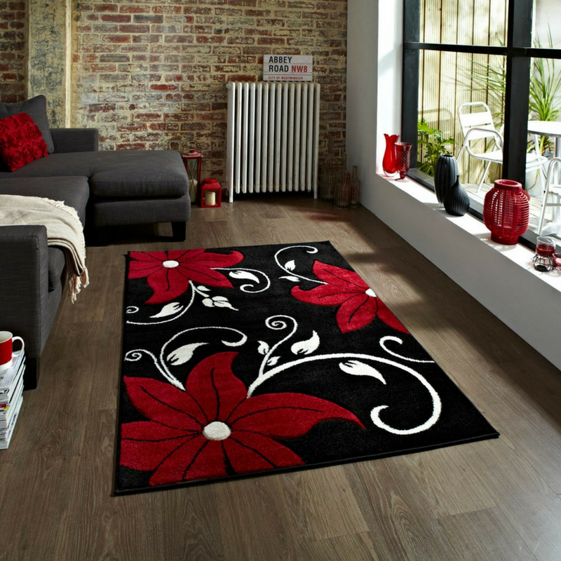 Deadpool Colour Themed Floral Rug From The Rug Seller