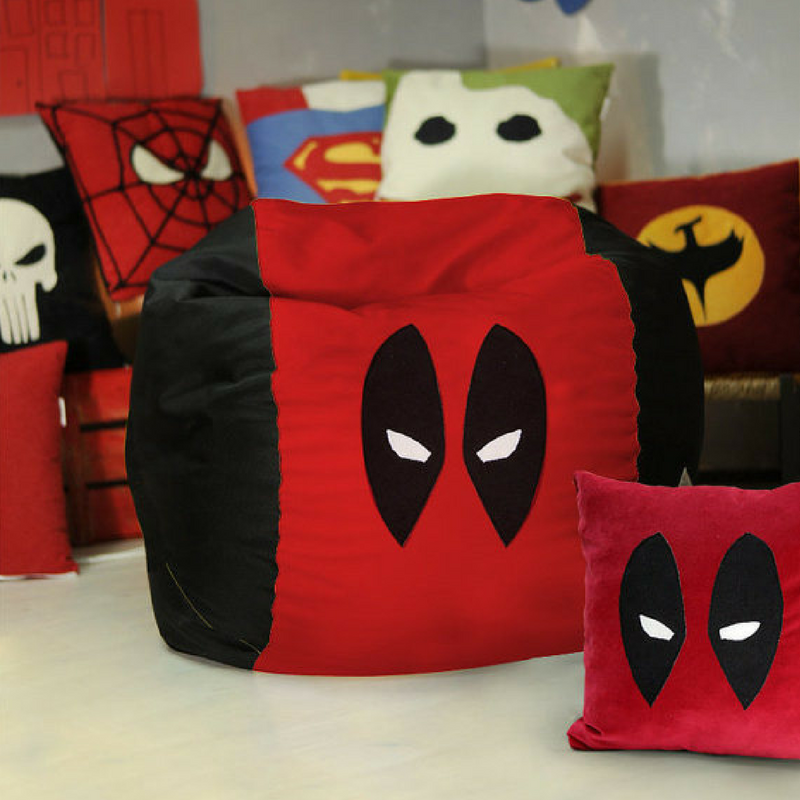 Deadpool Soft Bean Bag Cushion In Red and Black