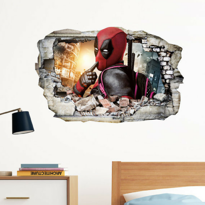 Deadpool Thinking Wall Art Sticker Broken Bricks