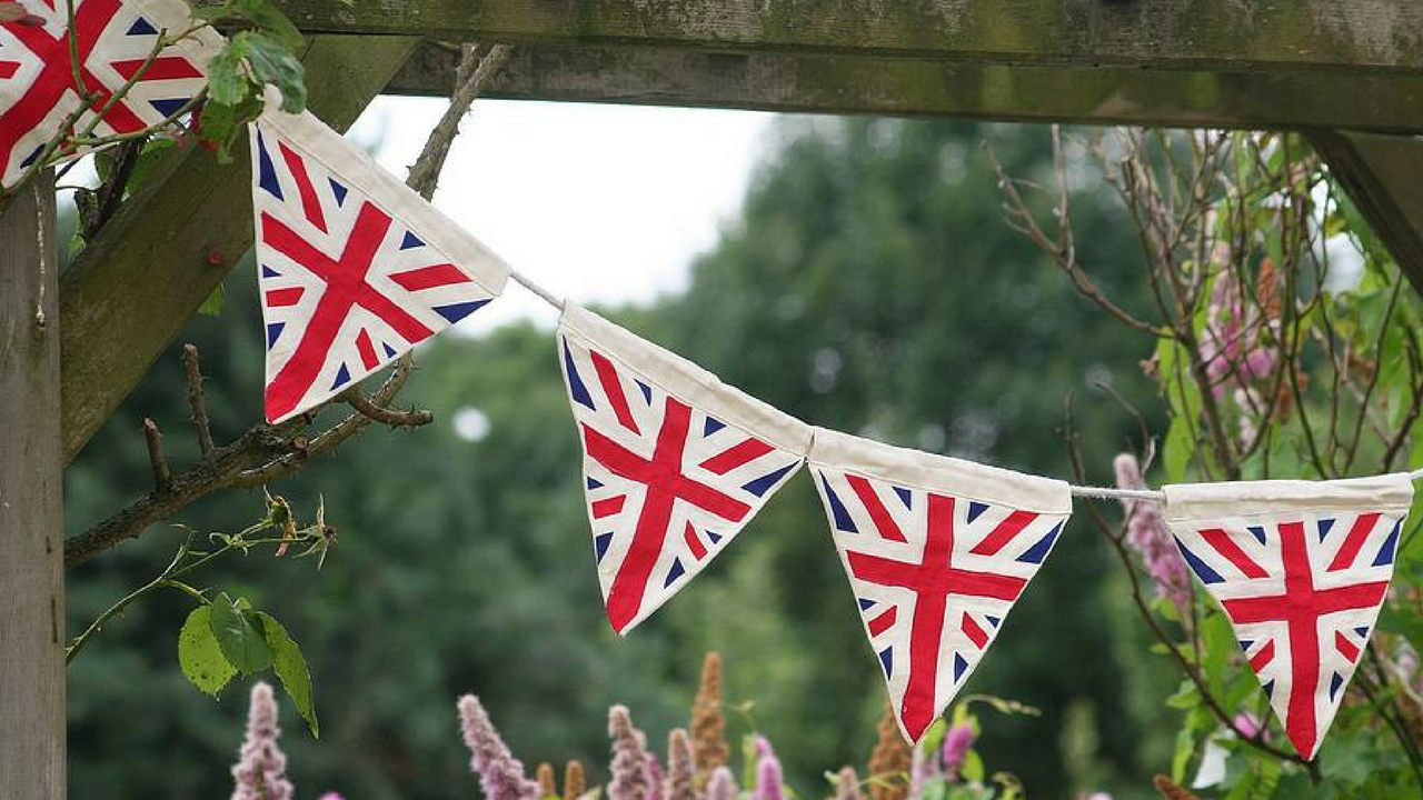 Royal Wedding Union Jack Bunting Decorations in a Garden
