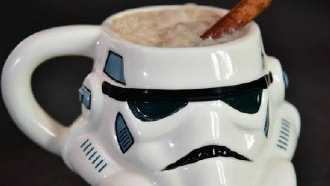 Star Wars May the 4th be with you Storm trooper mug filled with hot chocolate