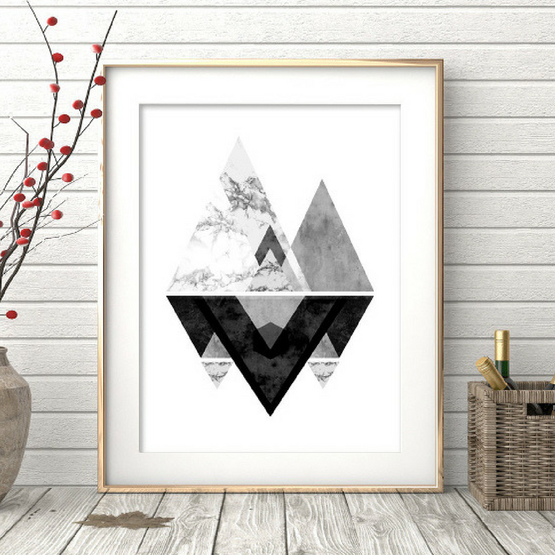 Geometric Patterns Black and White Wall Art