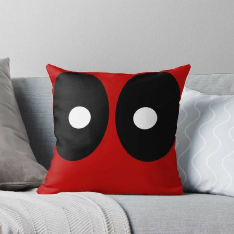 Deadpool Red and Black Face Pillow Case