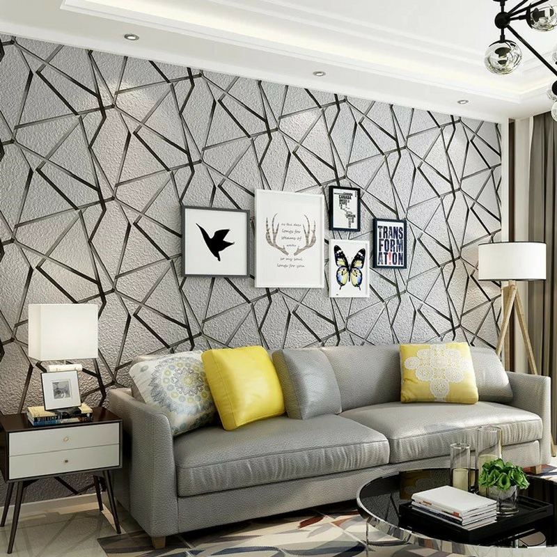 Geometric Patterns Silver Wallpaper in a living room